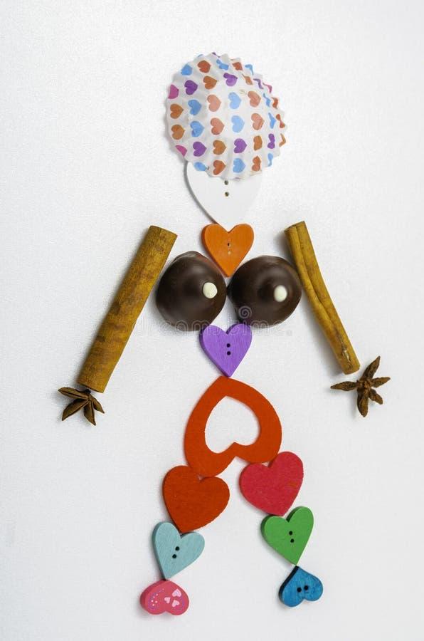 Śmieszna dziewczyna cukierek serca i pikantność zdjęcia royalty free