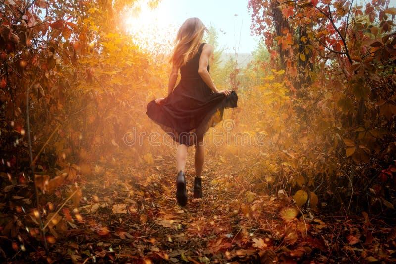 Śmieszna dziewczyna w czerni sukni bieg w złotym autum lesie obrazy stock