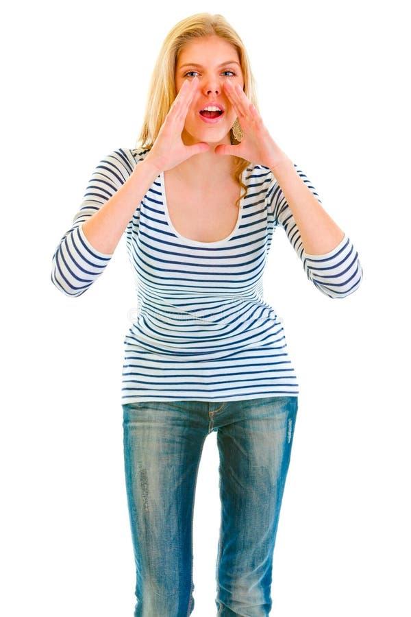 śmieszna dziewczyna wręcza megafon kształtuję target146_0_ zdjęcie stock