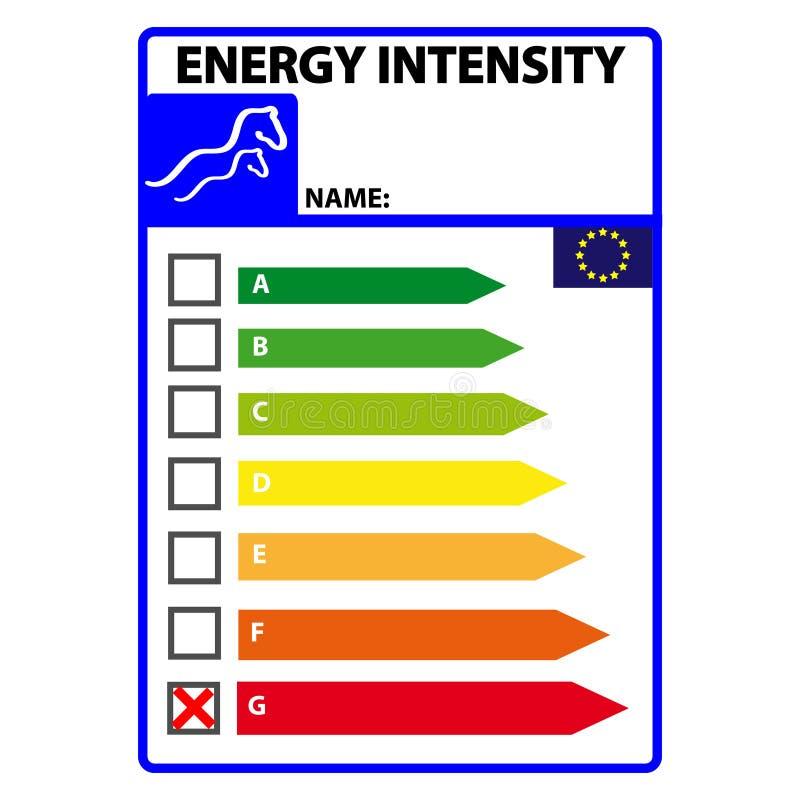 Śmieszna energetyczna efficience etykietka dla konia odizolowywającego na białym tle Wektorowy Illustartion ilustracja wektor