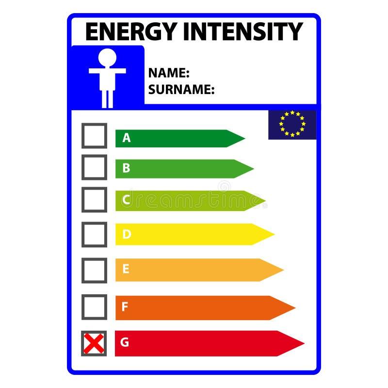 Śmieszna energetyczna efficience etykietka dla mężczyzna odizolowywającego na białym tle Wektorowy Illustartion ilustracji