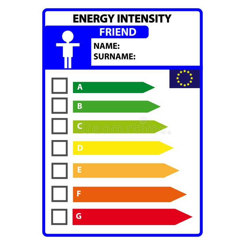 Śmieszna energetyczna efficience etykietka dla przyjaciela odizolowywającego na białym tle Wektorowy Illustartion ilustracji