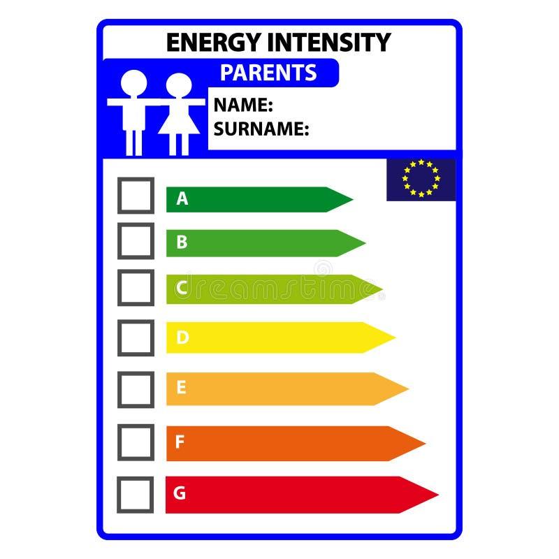 Śmieszna energetyczna efficience etykietka dla rodziców odizolowywających na białym tle Wektorowy Illustartion ilustracji