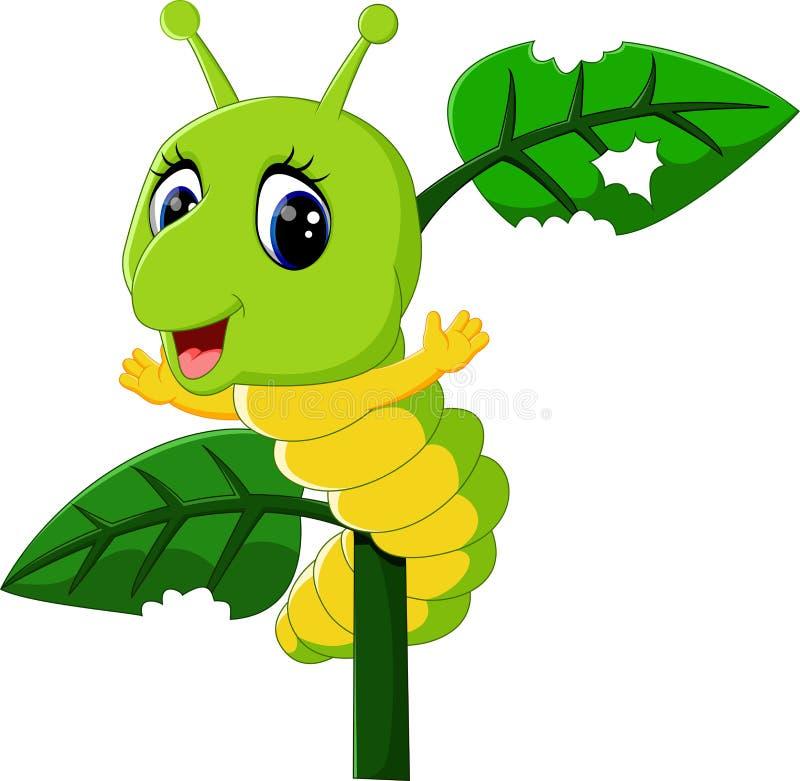 Śmieszna gąsienica biega na drzewie ilustracja wektor