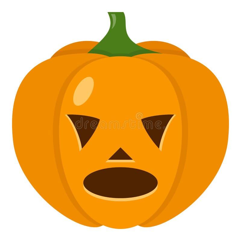 Śmieszna Halloweenowa Dyniowa Płaska ikona na bielu ilustracji