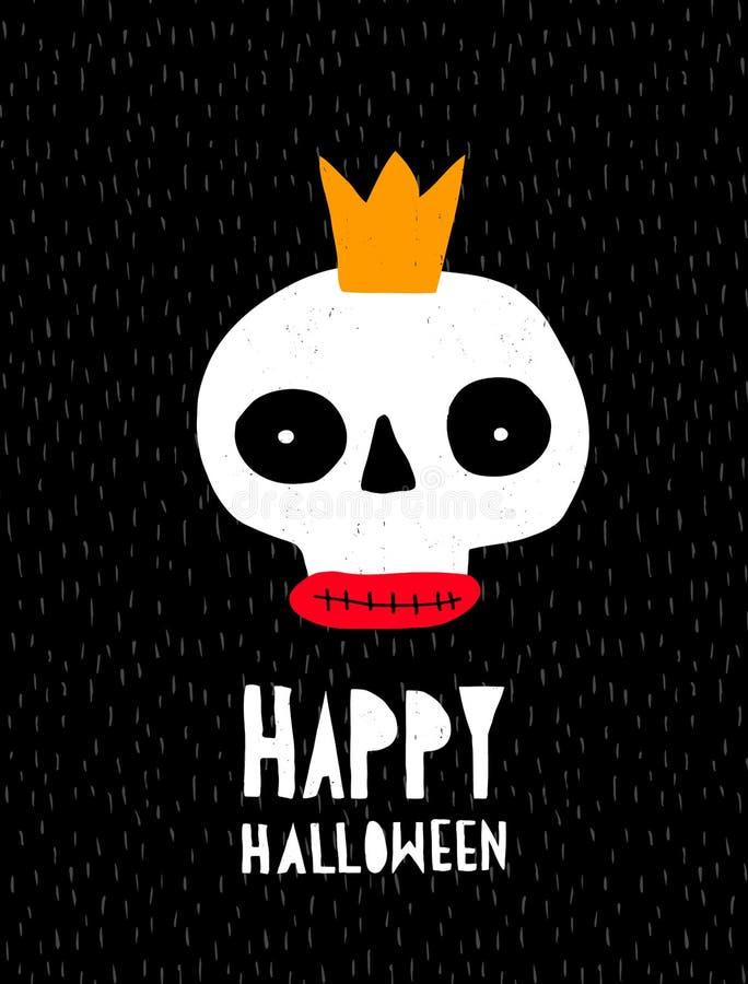 Śmieszna Halloweenowa Wektorowa ilustracja z Abstrakcjonistyczna ręka Rysującą czaszką na Czarnym tle ilustracji
