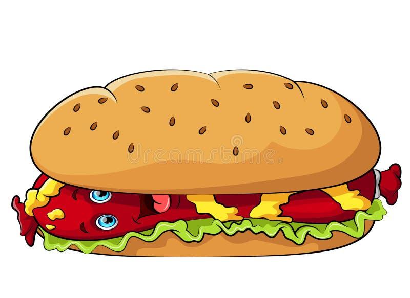 Śmieszna hot dog postać z kreskówki z musztardą ilustracji