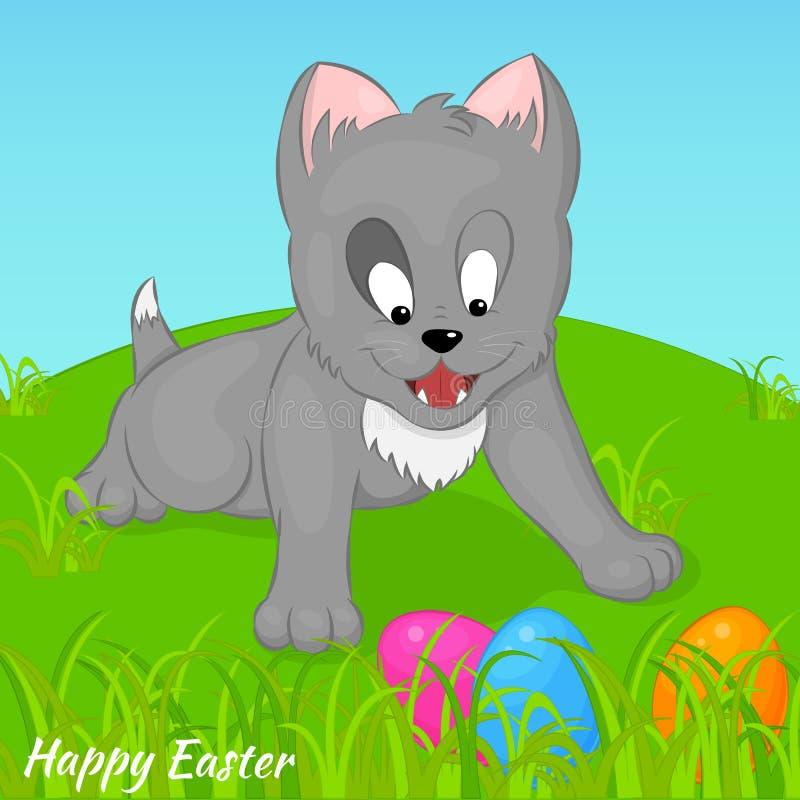 Śmieszna i śliczna figlarka znajdujący Wielkanocni jajka Wakacyjny tła, kartka z pozdrowieniami, plakata lub plakata szablon w kr ilustracja wektor