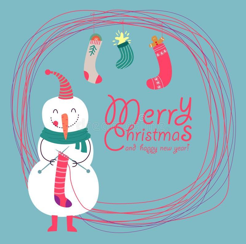 Śmieszna i śliczna kartka bożonarodzeniowa ilustracji