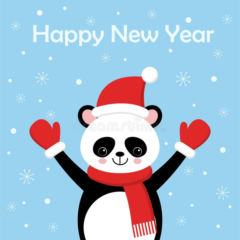 Śmieszna i śliczna panda jest ubranym Santa s kapelusz dla Kresk?wka styl ilustracji