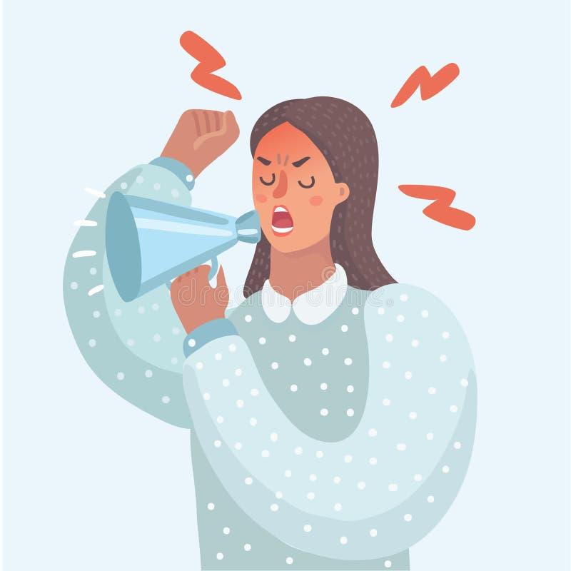 Śmieszna ilustracja kobieta z megafonem royalty ilustracja