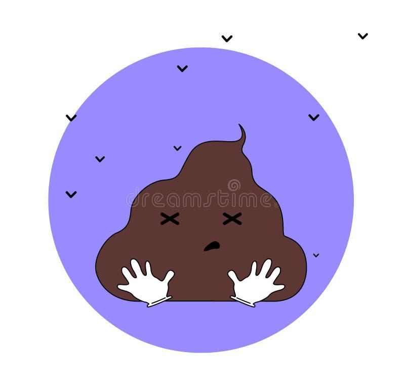 Śmieszna kaku postaci z kreskówki ilustracja z komarnicami ilustracji