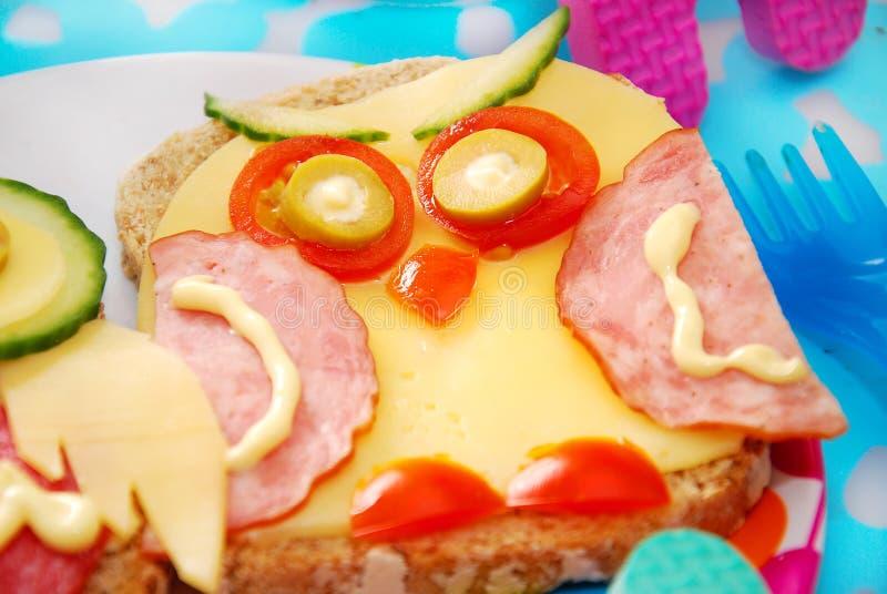 Śmieszna kanapka z sową dla dziecka obrazy stock