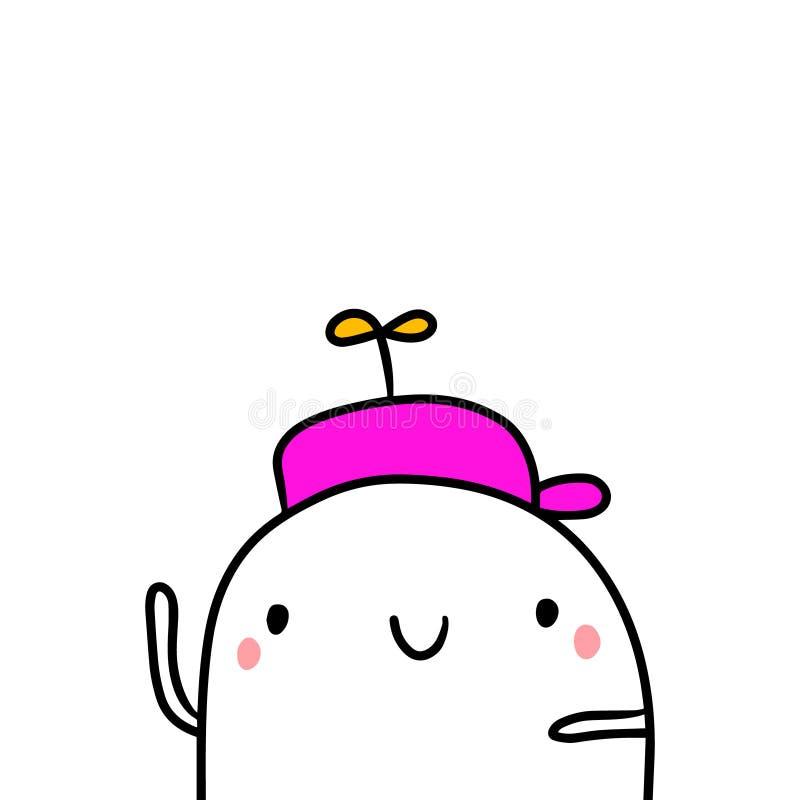 Śmieszna kapeluszowa ręka rysująca ilustracja z ślicznym marshmallow royalty ilustracja