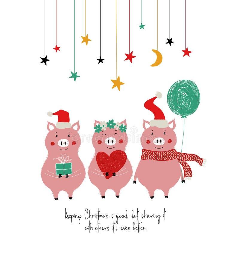 Śmieszna kartka bożonarodzeniowa Z Ślicznymi świniami ilustracji