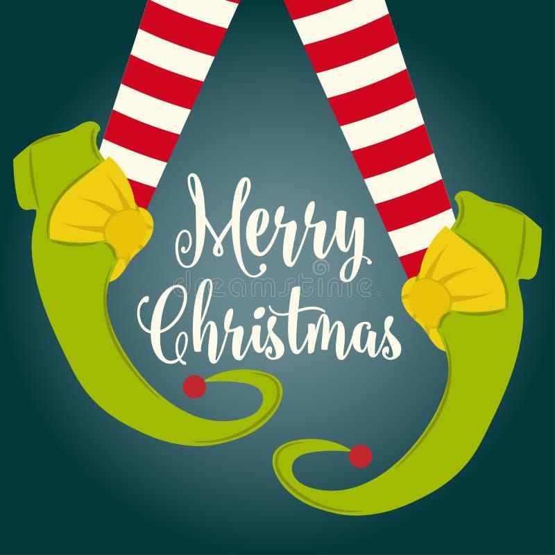 Śmieszna kartka bożonarodzeniowa z elf nogami royalty ilustracja
