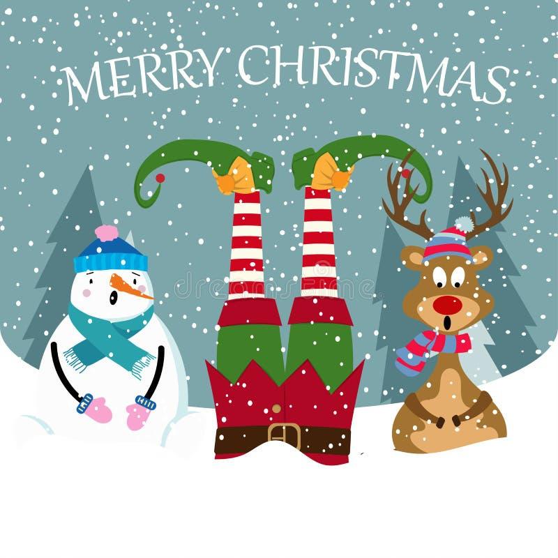Śmieszna kartka bożonarodzeniowa z elfem, bałwanem i reniferem, ilustracja wektor