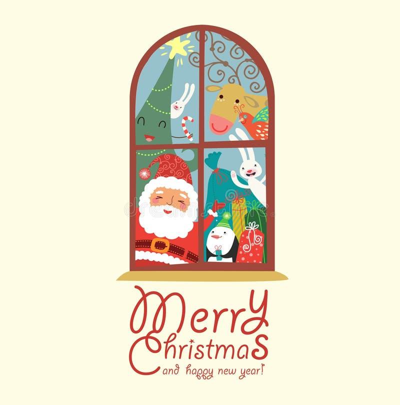 Śmieszna kartka bożonarodzeniowa z Santa royalty ilustracja