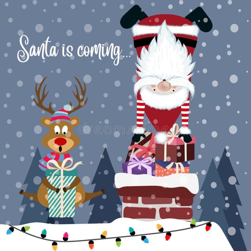 Śmieszna kartka bożonarodzeniowa z Santa i reniferem ilustracja wektor
