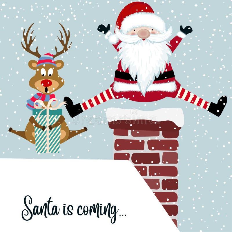Śmieszna kartka bożonarodzeniowa z Santa i reniferem ilustracji