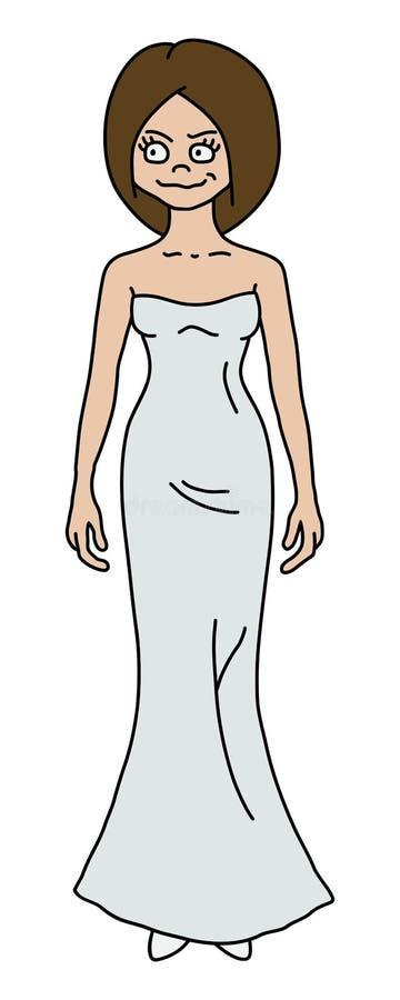 Śmieszna kobieta w białej sukni royalty ilustracja