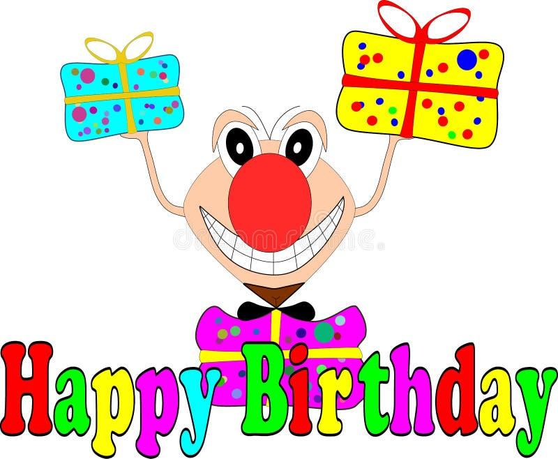 Śmieszna komiczna postać z prezentami dla urodzinowej karty royalty ilustracja