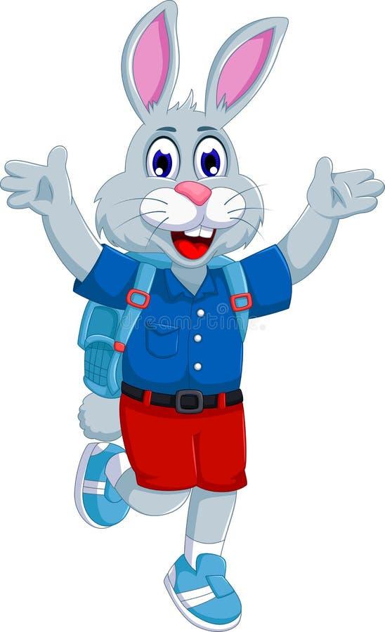 Śmieszna królik kreskówka iść szkoła royalty ilustracja