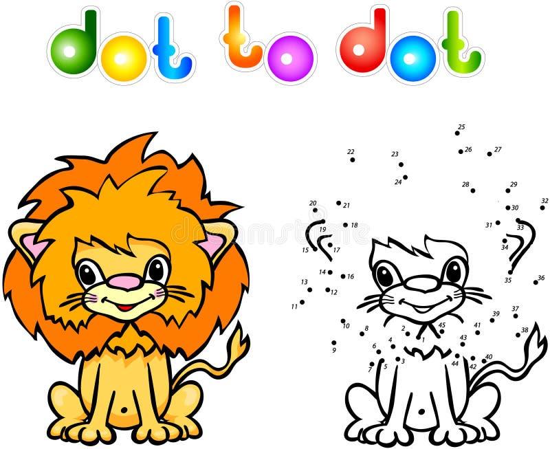 Śmieszna kreskówka lwa kropka kropkować ilustracja wektor