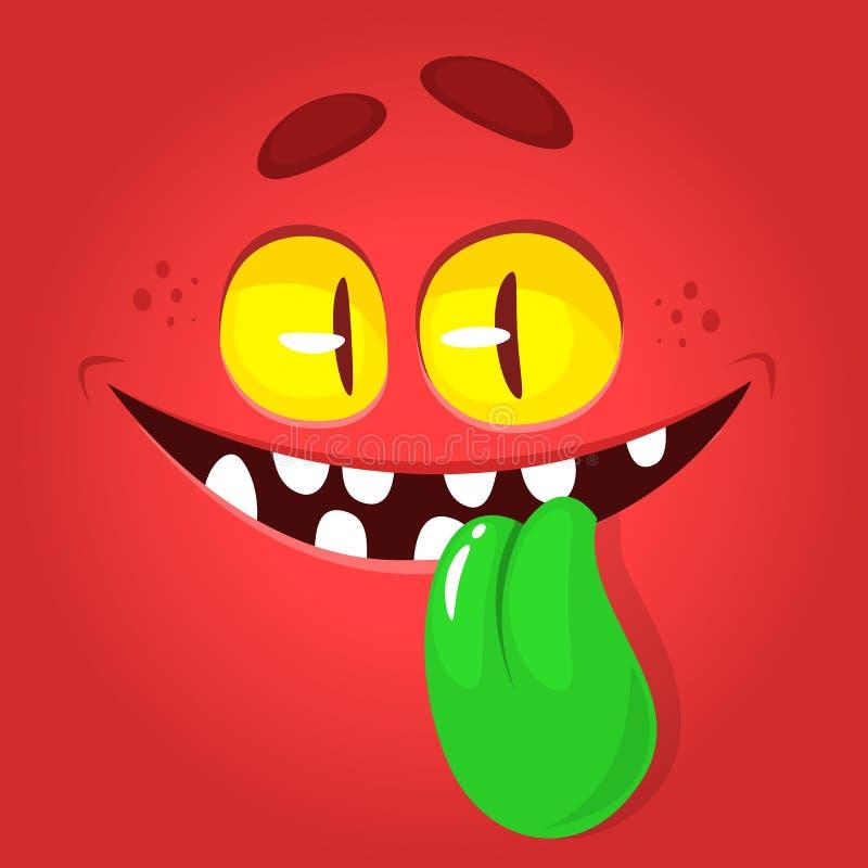 Śmieszna kreskówka potwora twarz pokazuje jęzor Wektorowy Halloweenowy czerwony potwora avatar ilustracji
