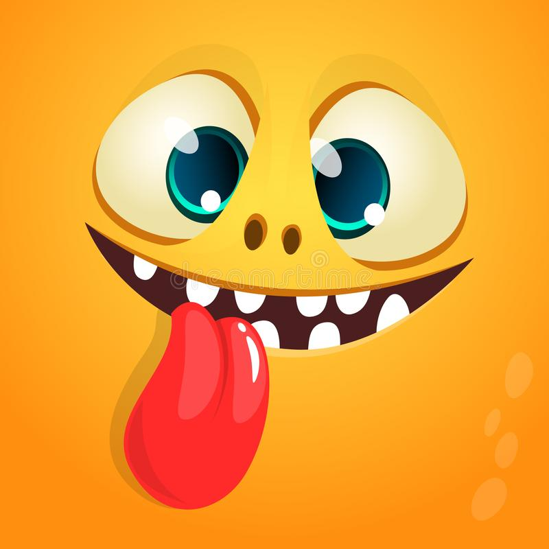 Śmieszna kreskówka potwora twarz pokazuje jęzor ilustracji