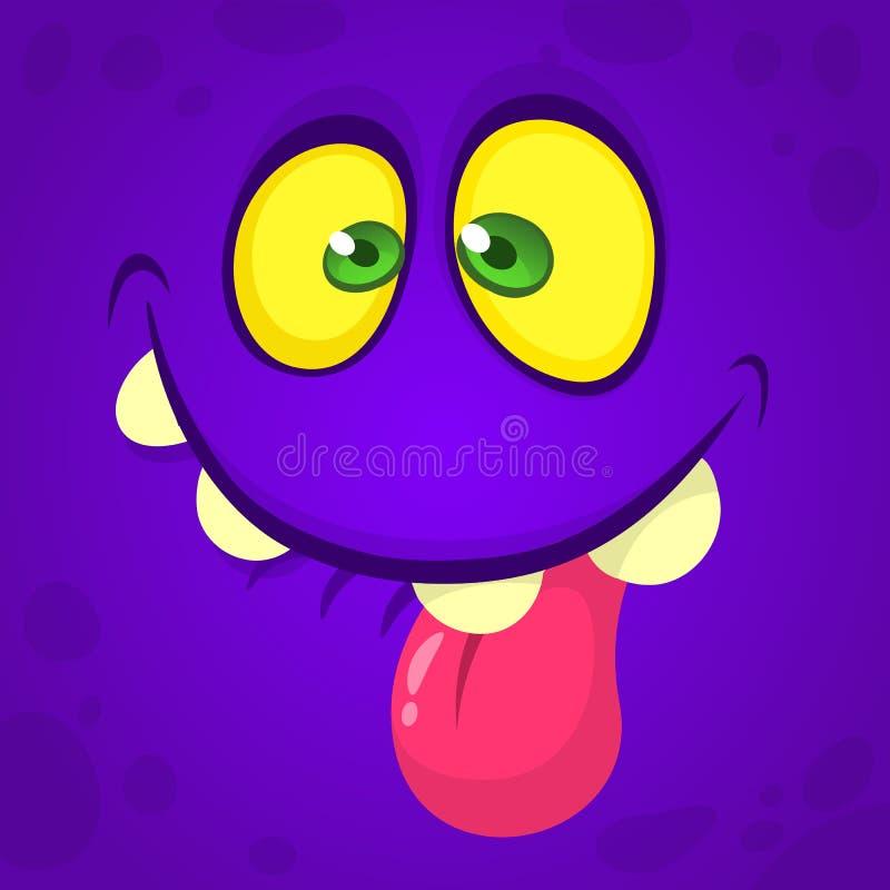 Śmieszna kreskówka potwora twarz z dużymi oczami pokazuje jęzor Wektorowy Halloweenowy fiołkowy potwór ilustracja wektor