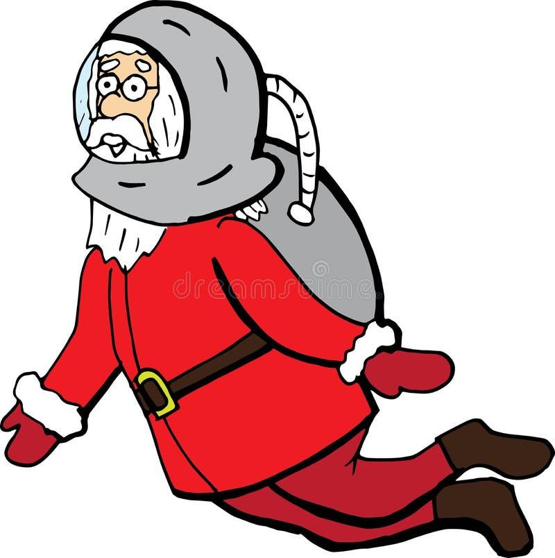 Śmieszna kreskówka Santa Claus w astronautycznym kostiumu wektorowy boże narodzenie charakter dla druków i plakatów royalty ilustracja