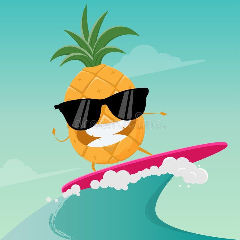 Śmieszna kreskówka surfingu ananas ilustracja wektor