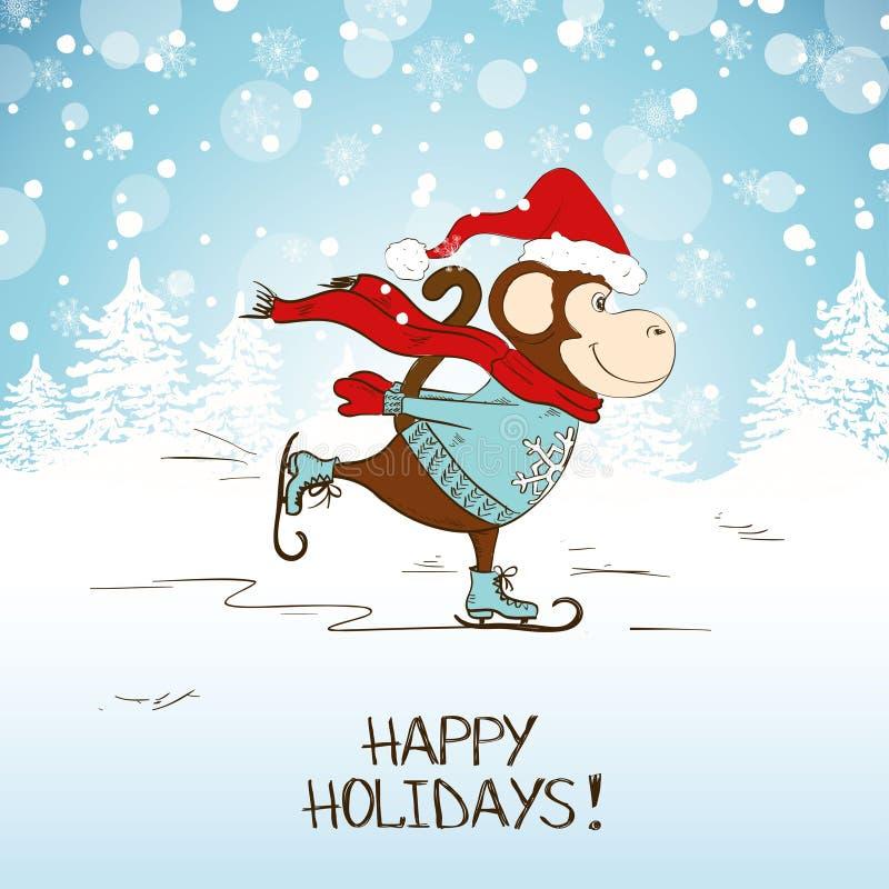 Śmieszna kreskówki łyżwiarstwa małpa royalty ilustracja