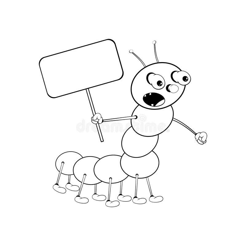 Śmieszna kreskówki gąsienica trzyma prostokątną pastylkę w jego ręce i krzyczy głośno Czarny i bia?y kolorystyka ilustracja wektor