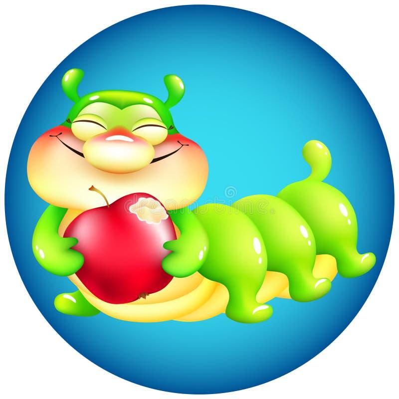 Śmieszna kreskówki gąsienica z czerwonym jabłkiem na błękitnym tle royalty ilustracja