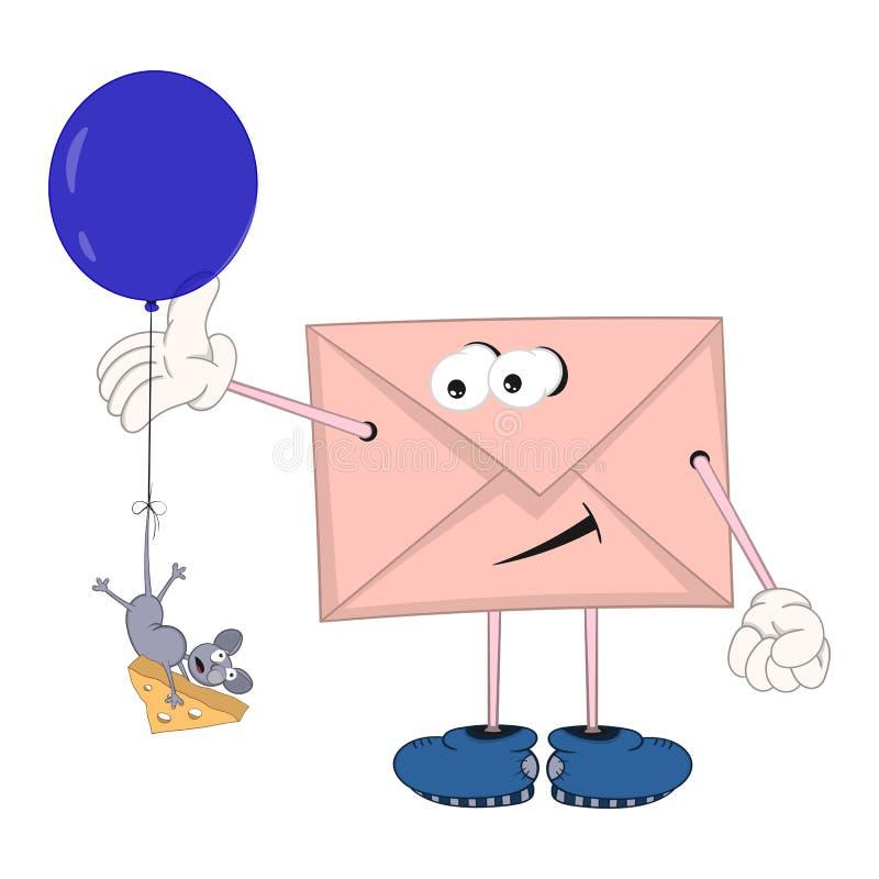 Śmieszna kreskówki koperta z oczami, nogami i rękami patrzeje jak myszy latanie w serze troszkę, balonu i mienia ilustracja wektor