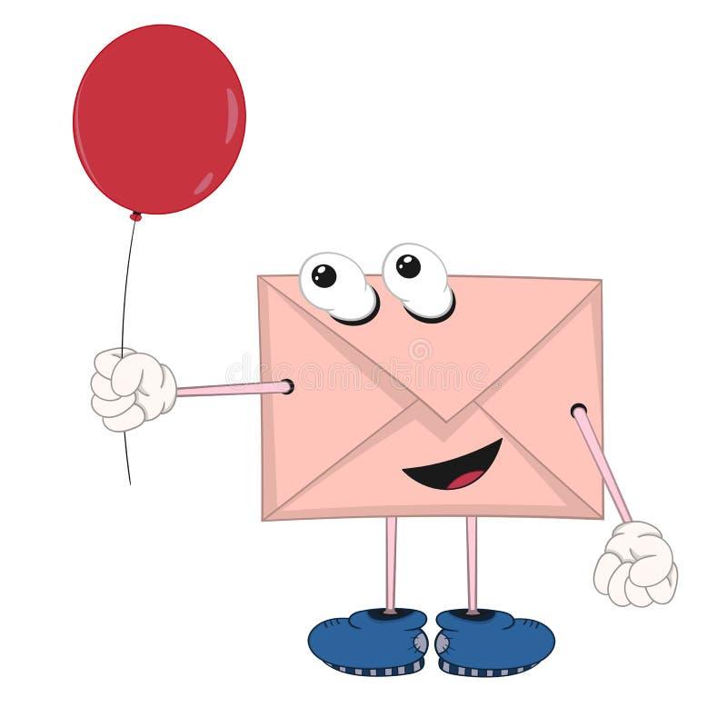 Śmieszna kreskówki koperta z oczami, nogami i rękami trzyma, czerwieni ono uśmiecha się i balon ilustracji