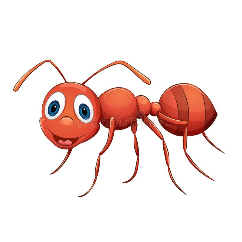 Śmieszna kreskówki mrówka, dziecka ` s styl, kolorystyki książka royalty ilustracja
