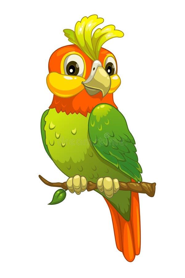 śmieszna kreskówki papuga ilustracja wektor