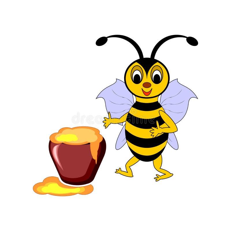 Śmieszna kreskówki pszczoła z garnkiem miód ilustracja wektor