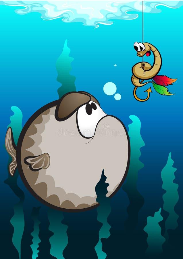 Śmieszna kreskówki ryba, dżdżownica i obraz royalty free