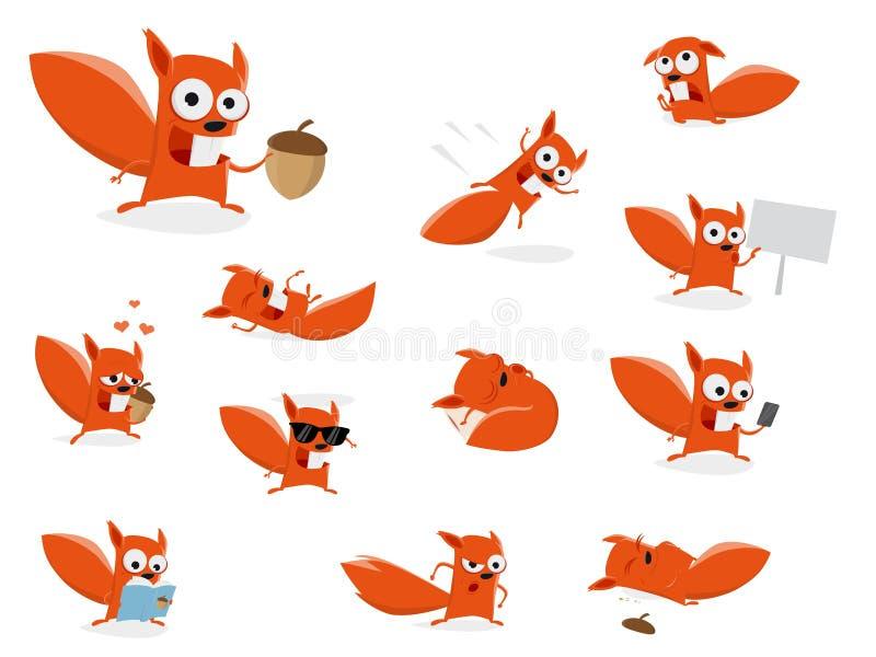 Śmieszna kreskówki wiewiórki kolekcja ilustracji