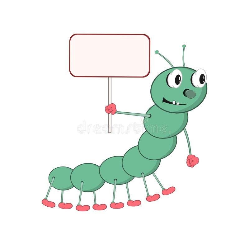 Śmieszna kreskówki zieleni gąsienica trzyma prostokątną pastylkę w jego ręce i ono uśmiecha się ilustracja wektor