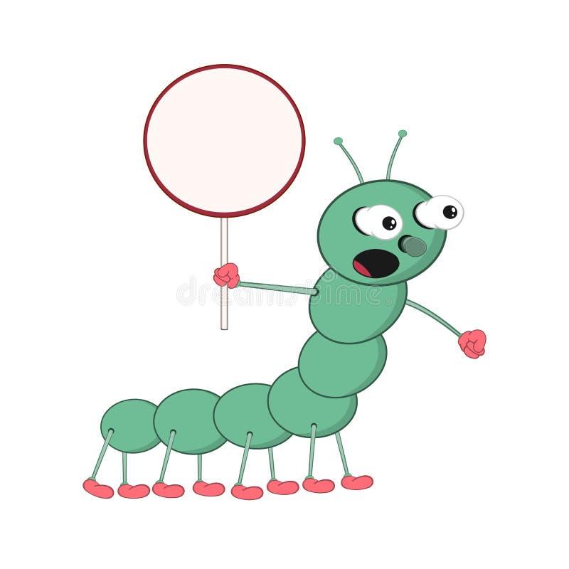 Śmieszna kreskówki zieleni gąsienica trzyma round podpisuje wewnątrz jego krzyki i rękę głośno royalty ilustracja