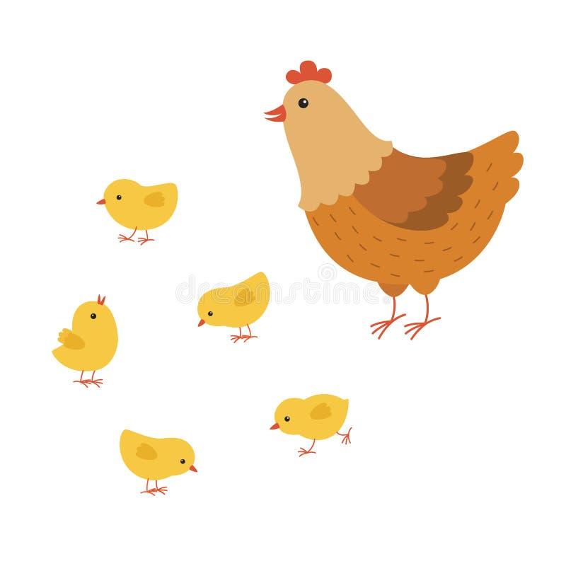 Śmieszna kurna kreskówka z jej dziecko kurczakiem, macierzysta karmazynka royalty ilustracja