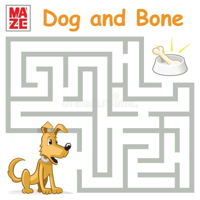 Śmieszna labirynt gra: Kreskówka pies Znajduje kość ilustracji