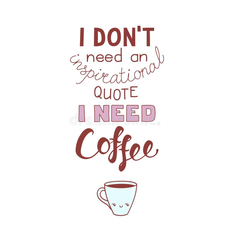 Śmieszna literowanie wycena o kawie ilustracja wektor