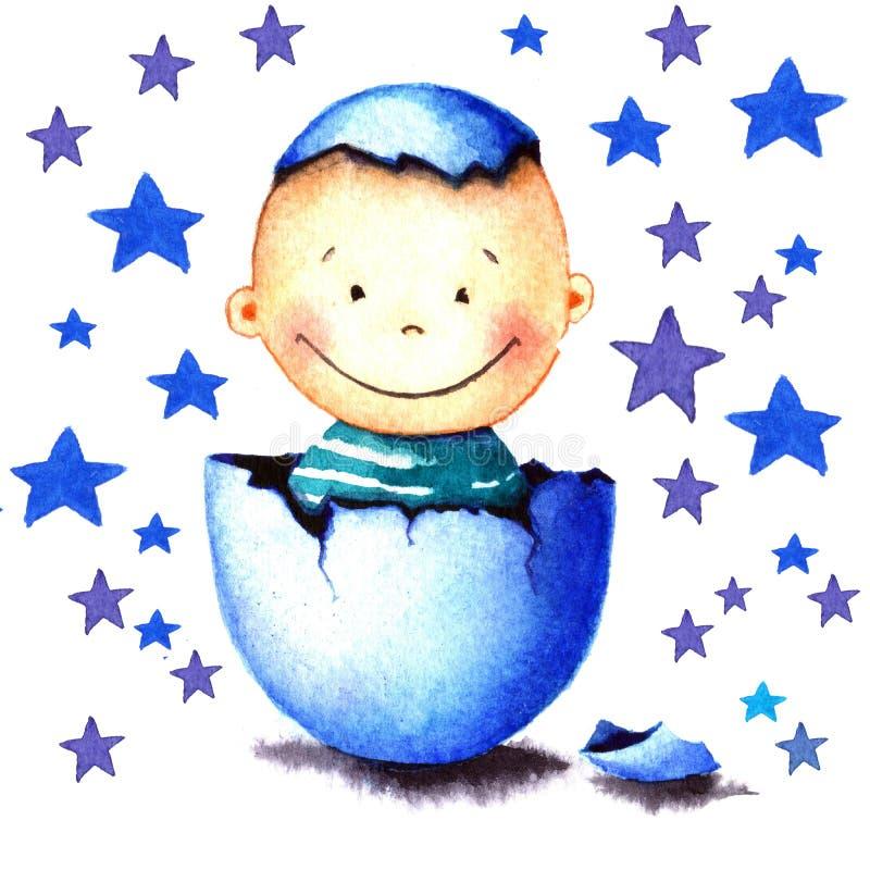Śmieszna mała chłopiec był urodzona od jajka klującego się Nowonarodzonego dziecka akwareli ilustracja dla kartka z pozdrowieniam royalty ilustracja