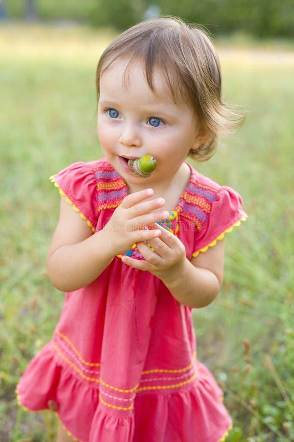 Śmieszna mała dziewczynka z acorns obraz royalty free